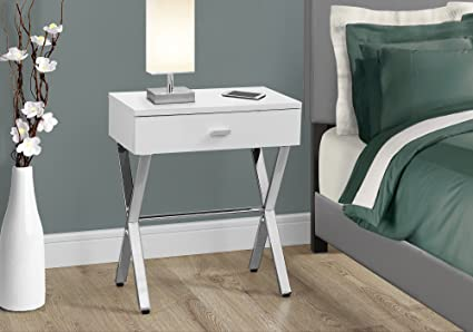 Amazon.com: GLOSSY WHITE WITH CHROME METAL FRAME NIGHT STAND