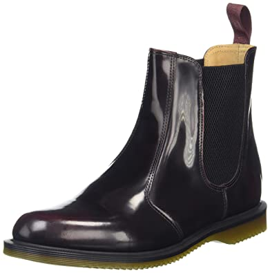 25adf93975f Dr. Martens Women's Flora Leather Chelsea Boot, Cherry Red Arcadia, 3 UK/