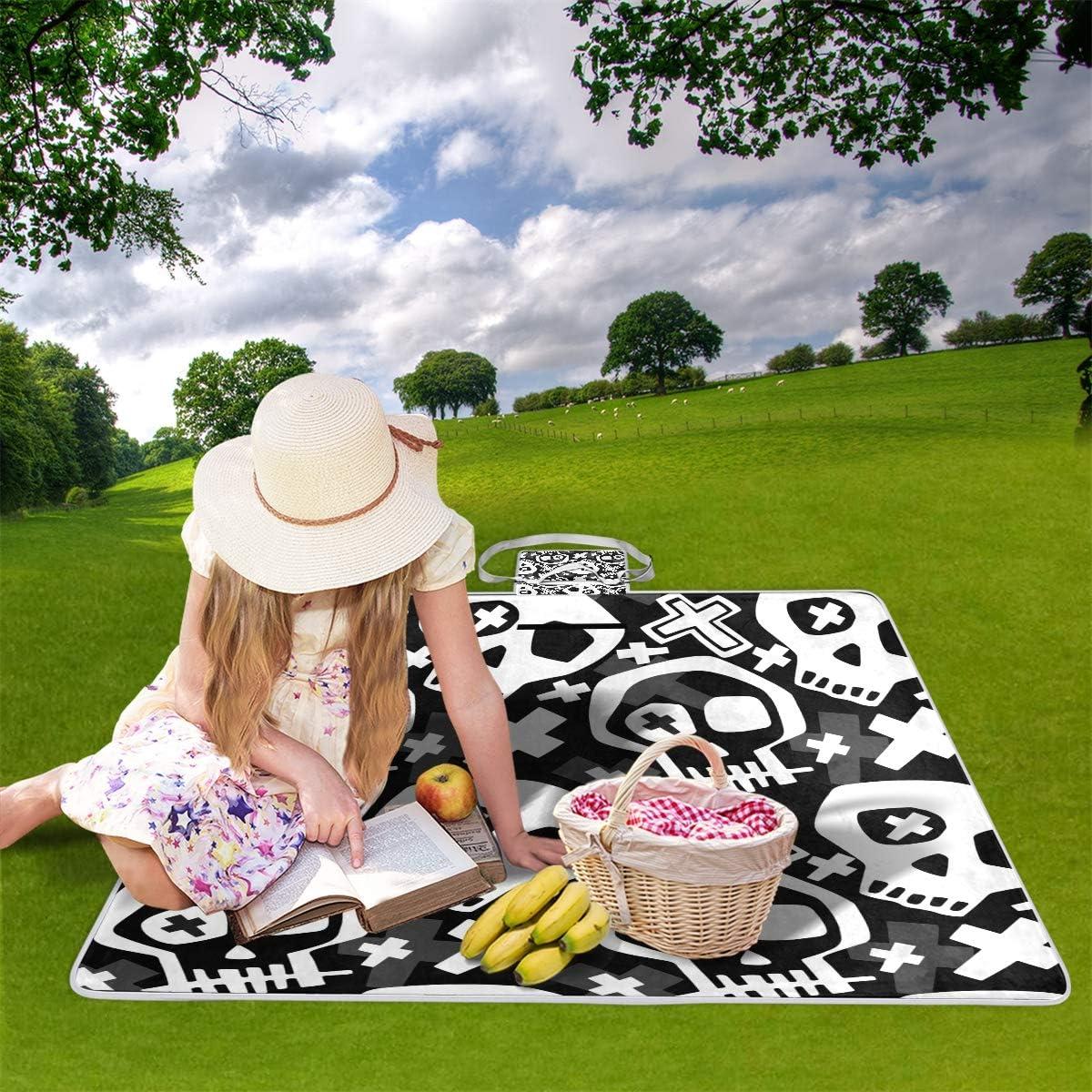 XINGAKA Couverture de Pique-Nique,Crâne Funky Seamless Grunge Rough Pattern,Tapis Idéale pour Plage Jardin Parc Camping 9