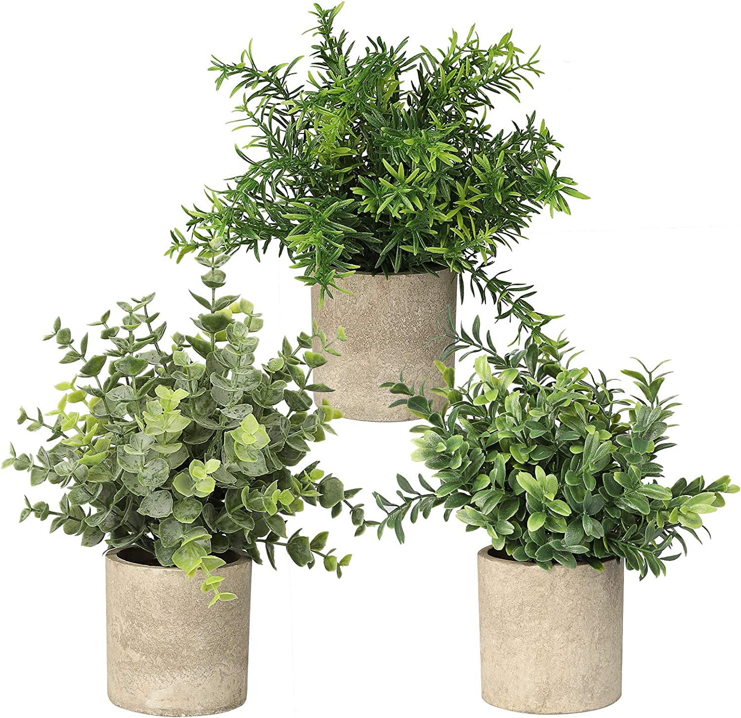 Amazon Com Sunjoyco 3 Pack Mini Potted Artificial Plants Faux Fake Greenery Eucalyptus Rosemary Plants For Home Office Table Desk Shower Kitchen Shelf Bedroom Bathroom Decoration Indoor Outdoor Decor Home Kitchen