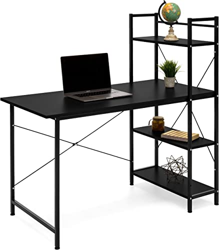 Best Choice Products Wooden 4-Tier Workstation Desk Shelf Combo for Office Study Home Dorm w Iron Frame, Black