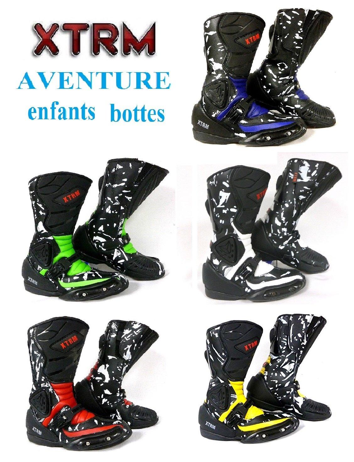moto enfants bottes XTRM AVENTURE bottes d'enfants moto sur la route armure quad chaussures de tourisme sportif (EU 39 (UK 5), noir / vert) MOTOHART