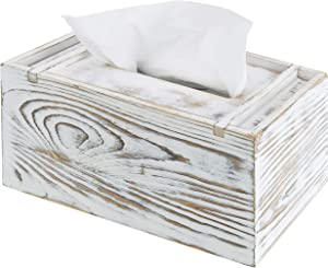 MyGift Shabby Chic Whitewashed Wood Tissue Box Cover with Magnetized Lid