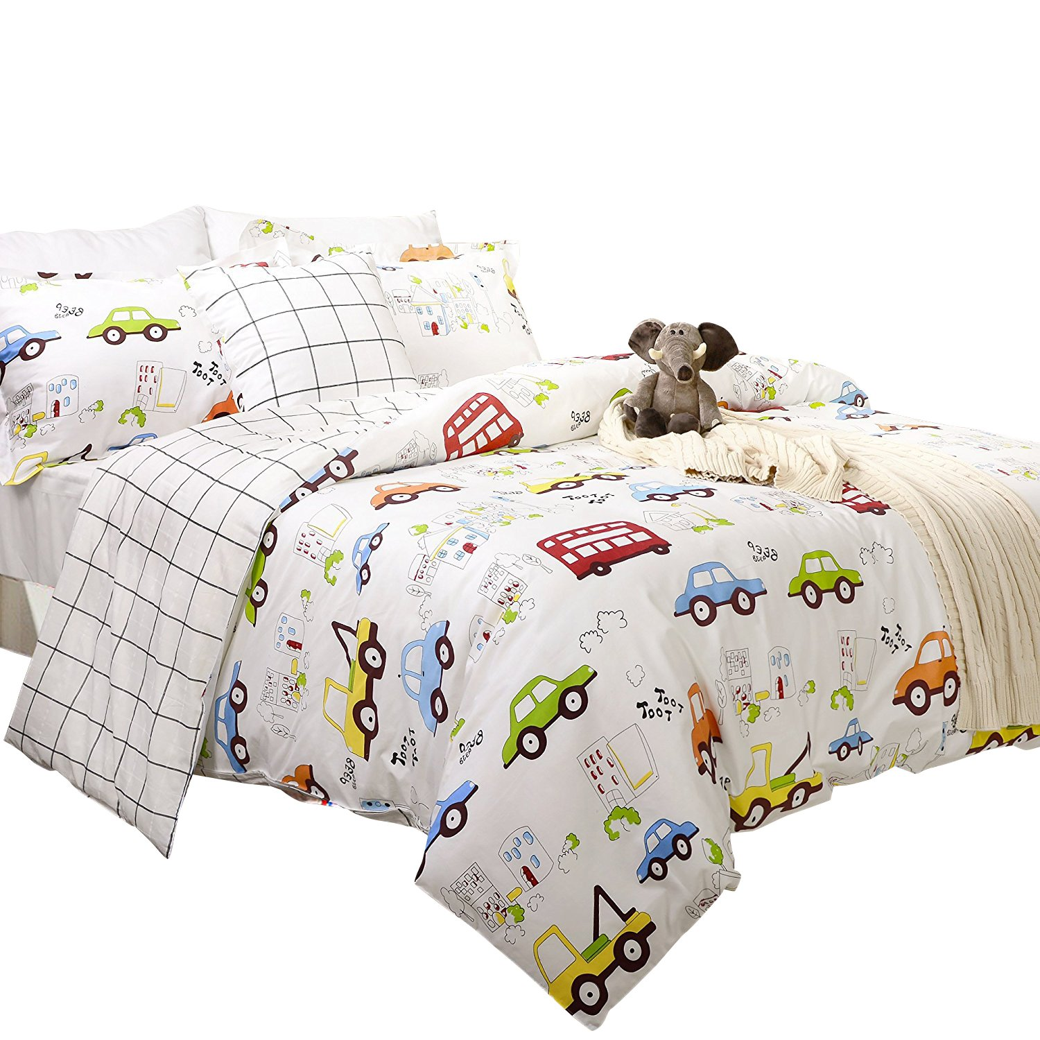 502acb27a47a Kids Boys Bedding Cars Vehicles Duvet Cover Set 3-Piece Twin Size (No  Comforter Included): Amazon.ca: Home & Kitchen