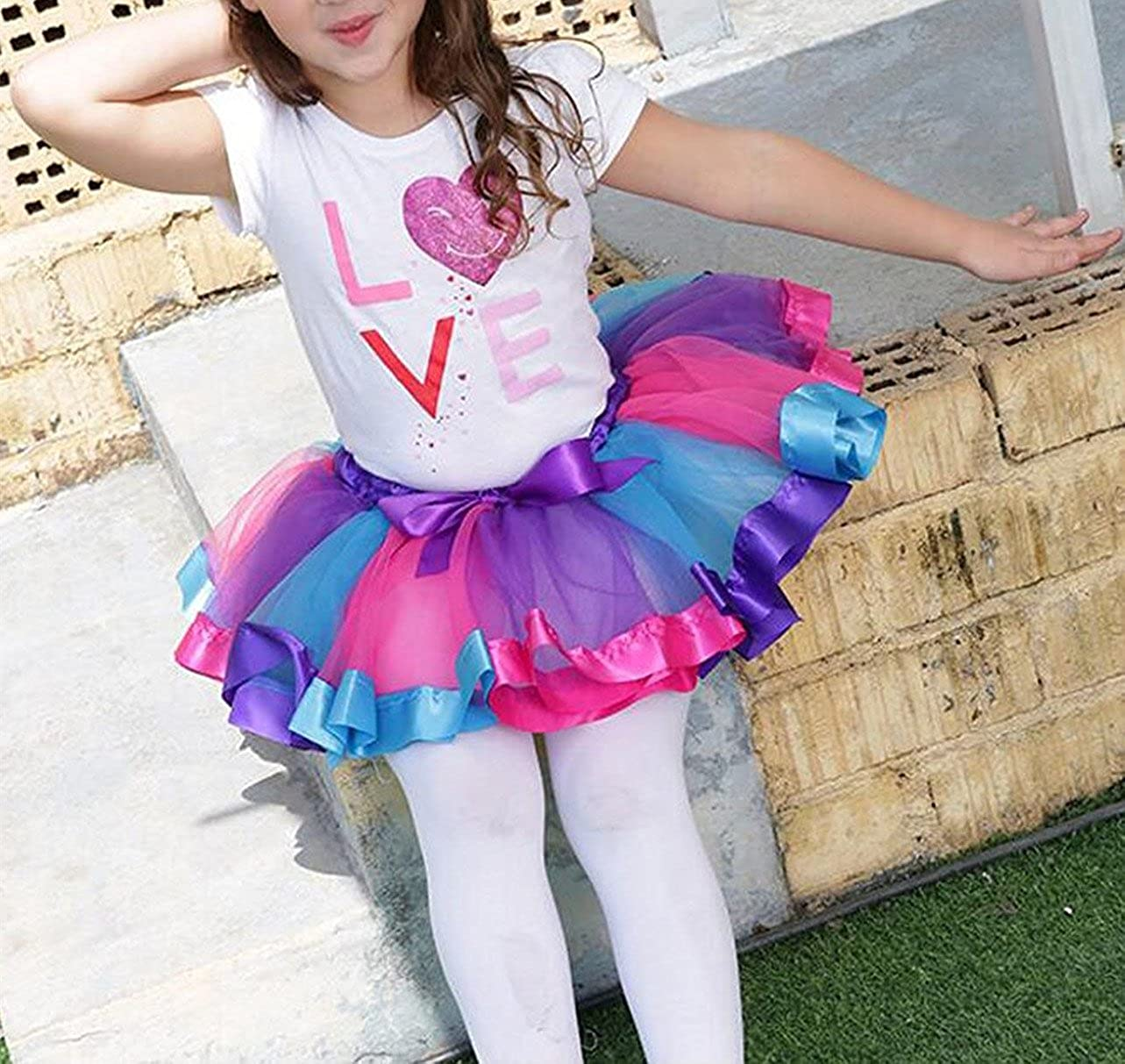 SUNTRADE Girls Layered Colorful Tutu Skirt for Birthday Party Dress Up