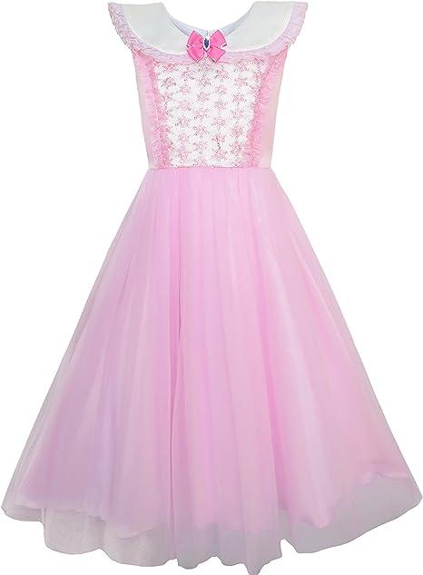 Sunny Fashion Vestido para niña Rosa Princesa Disfraz Lujoso ...
