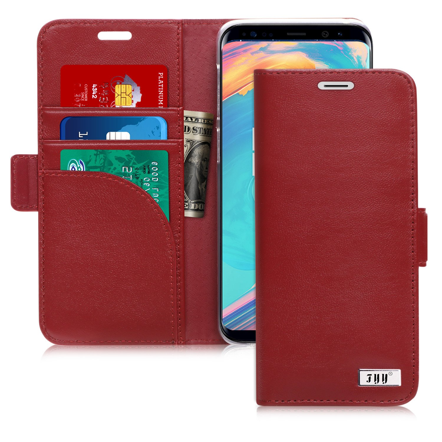FYY Case for Galaxy S9 Plus, Genuine Leather Handmade Wallet Case with [Prevent Card Information Leaking Technique] and [Kickstand Feature] for Samsung Galaxy S9 Plus Wine Red