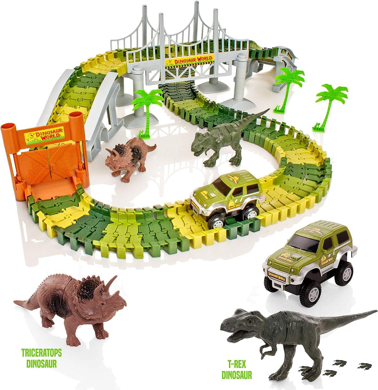 Create-A-Track Jurassic Dino World Pista Flexible y Juego de Coches Iluminado