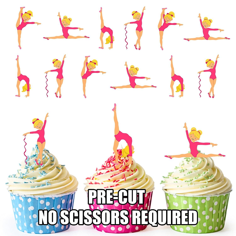 Ak Giftshop essbare Törtchen-Dekorationen, vorgeschnitten, Motive mit Turnerinnen in Rosa, für Cupcakes und Torten, 12 Stück für Cupcakes und Torten 12 Stück AKGifts