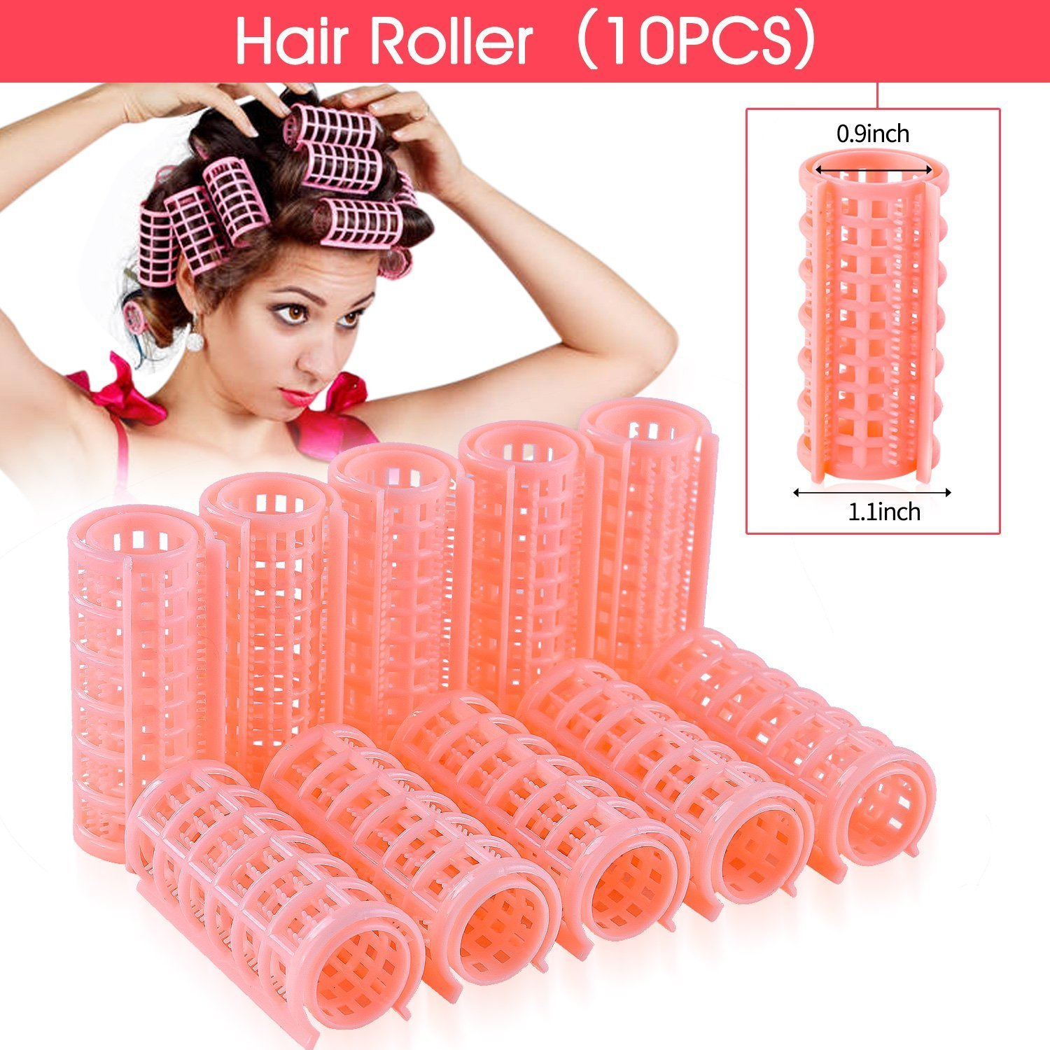 Yousha 10Pcs DIY Home Small Plastic Hair Roller Pro Salon Hairdressing Curlers Clips for Women Ladies (Pink)