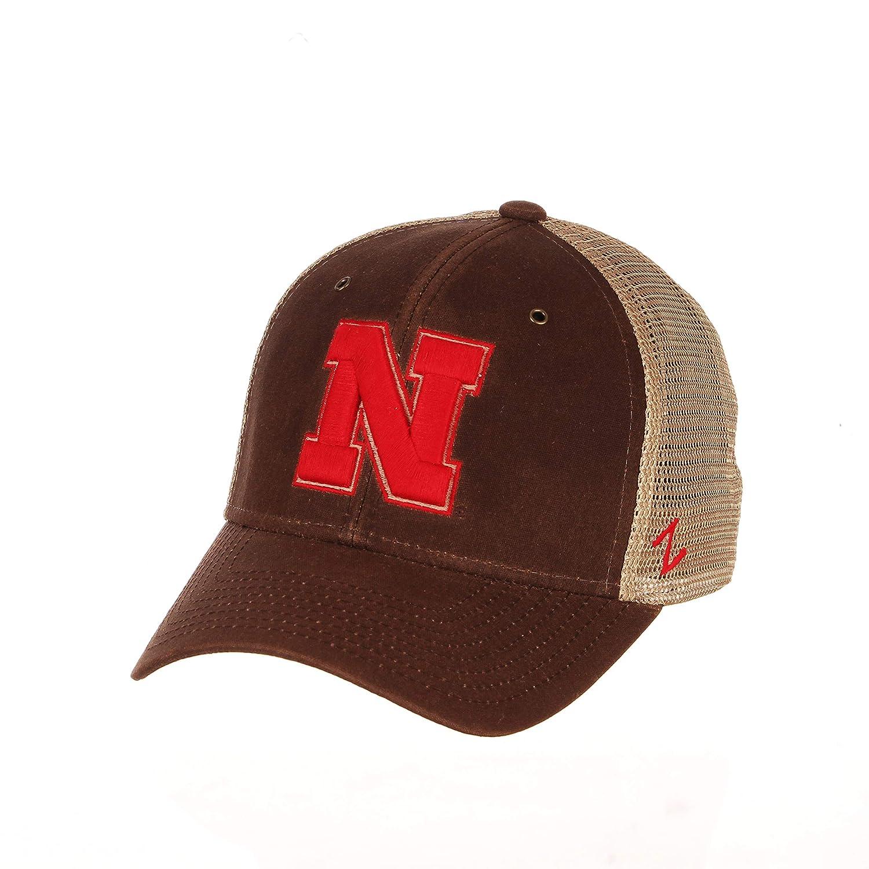 Brown Adjustable NCAA Zephyr Nebraska Cornhuskers Mens Mesa Waxed Cotton Trucker Hat