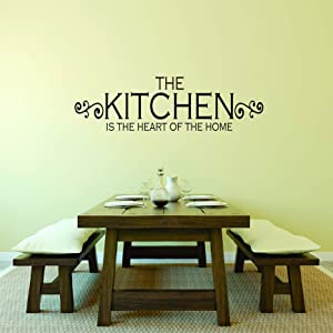 Decal – Vinyl Wall Sticker : The Kitchen is The Heart of The Home Living Room Bedroom Quote Home Living Room Bedroom Decor Discounted Sale Item Size: 6 X 30 Inches Color: Black