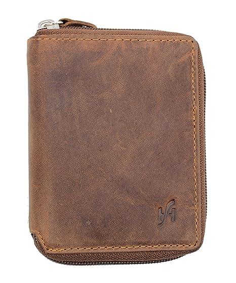 nuovo concetto 559af 20d9a Portafoglio uomo con zip intera intorno cacciatore vera pelle con  portamonete - regalo scatola da STARHIDE #720 (Marrone)