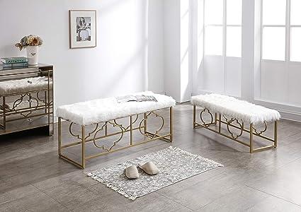 Fine Amazon Com Hodedah Hi1860 2 Piece White Faux Fur Uwap Interior Chair Design Uwaporg