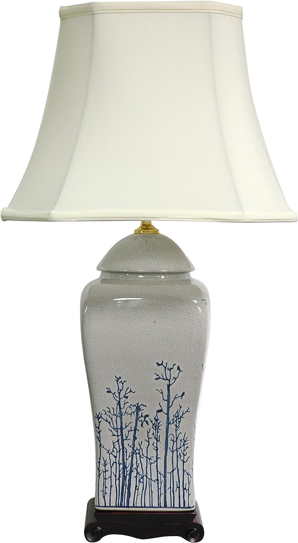 """Oriental Furniture 26"""" Blue & White Spring Forest Porcelain Vase Lamp"""