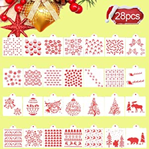 Iceyyyy 28 Pieces Christmas Cookie Stencils Set - Cake Baking Templates for Christmas Cookie Cake Decoration