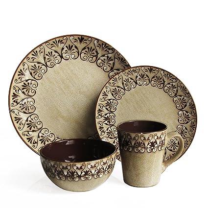 Amazon.com   American Atelier Mehndi 16-Piece Round Dinnerware Set ...