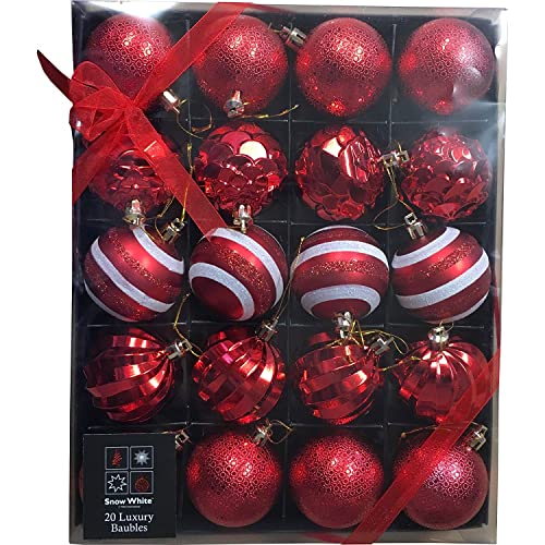 pms snow white luxury bauble set of 20 in red