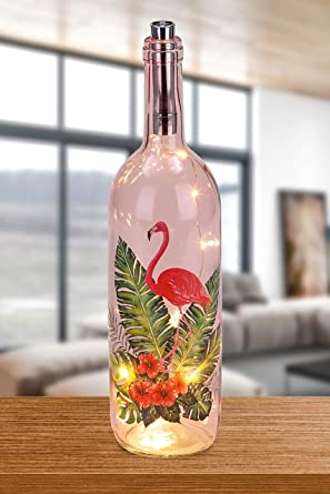 BRUBAKER Botella luminosa con impresión de flamenco e hibisco 10 LED - 34,7 cm