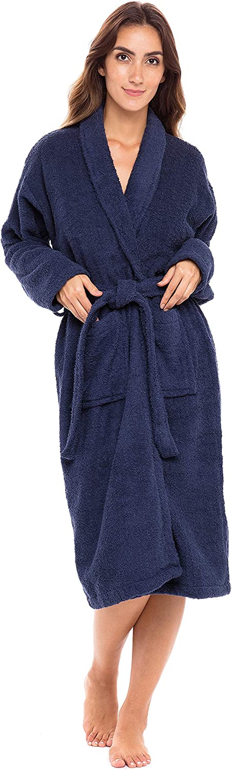 UNISEX LUXURY BATHROBES WINTER SHAWL COLLAR COTTON TERRY TOWELING GOWN GIFTS