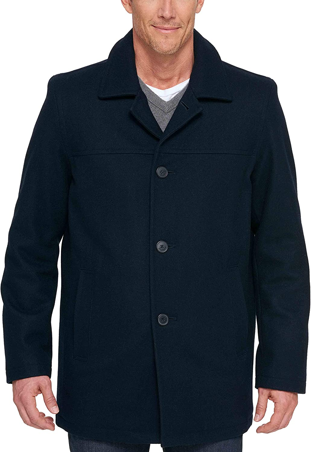 Tommy Hilfiger Mens Size Tall Wool Melton Walking Coat with Detachable Scarf