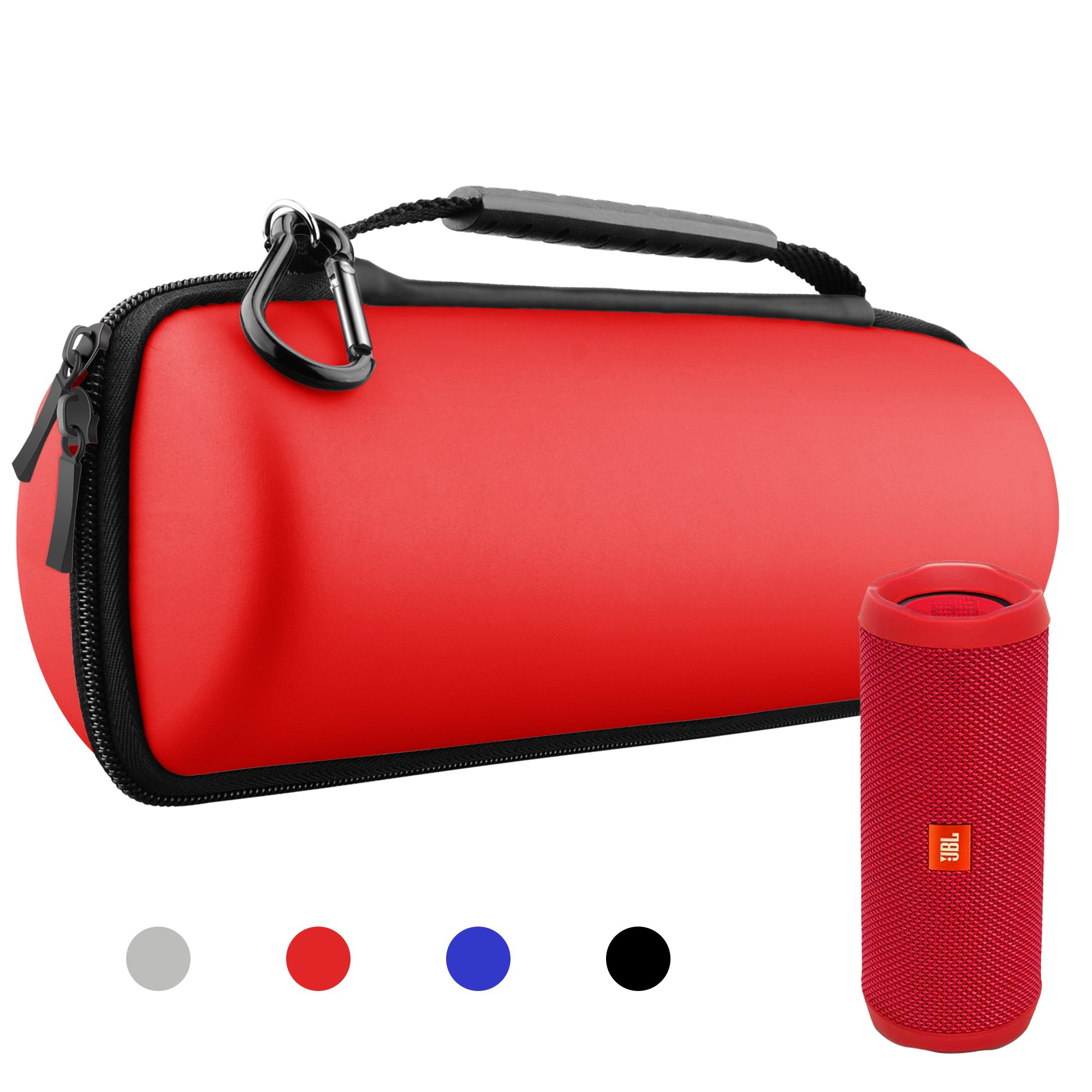 Hanlesi Case for JBL Flip 4 and Flip 3, Waterproof Carrying Accessories Case Wireless Bluetooth Speaker Travel Bag for Flip4/Flip3 Case Red