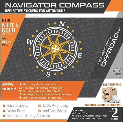 Carmetics navigator compass reflective sticker for all carswhitegold