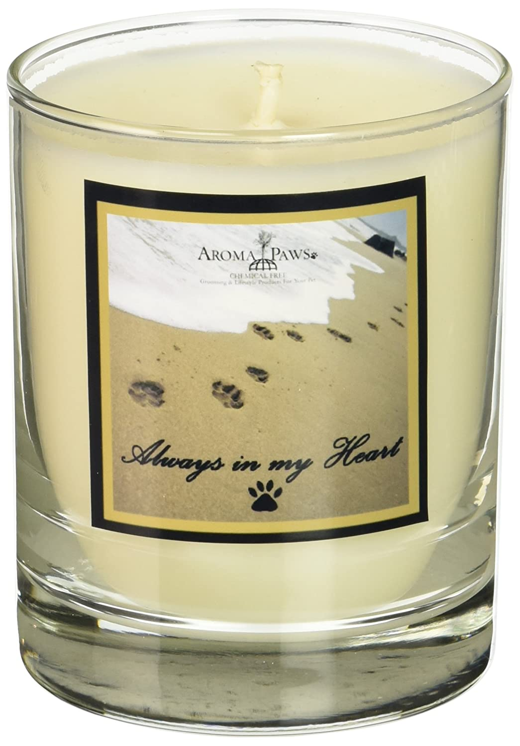 Aroma Paws Pawprints in Sand gold Memorial Candle 8-Ounce