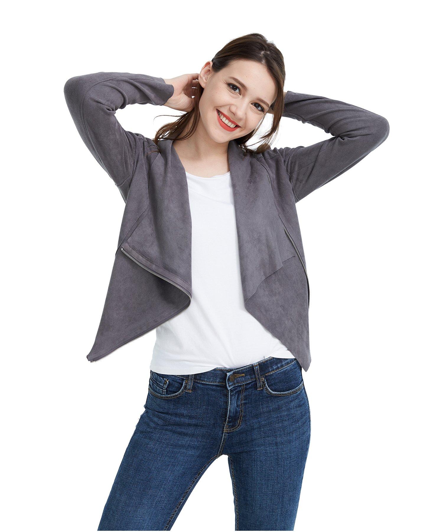 Fasbric Women Spring Autumn Lightweight Jackets Suede Zipper Solid Coat Tops Outwear-Grey-S