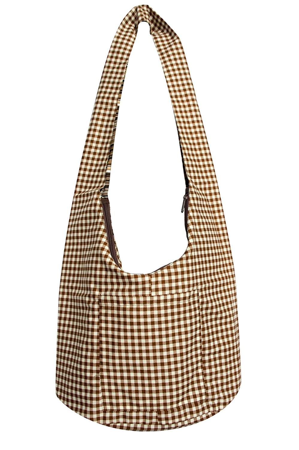 Avarada Hippie Hobo Cotton Crossbody Shoulder Bohemian Bag Medium Size Checker Pattren Brown White