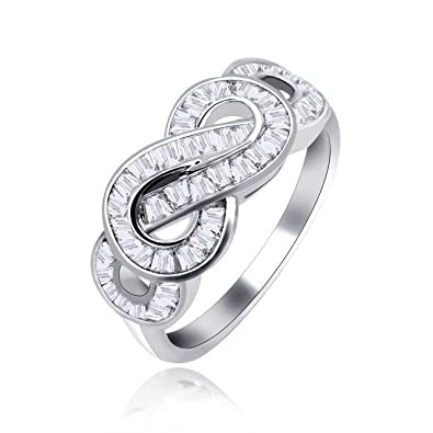 69cadfe2644bf Uloveido Infinity Swirl Rings for Women Baguette Cut Clear Cubic Zironcia  Crystal Twist Bow Wedding Anniversary Ring White Gold Plated Jewelry JZ095  ...