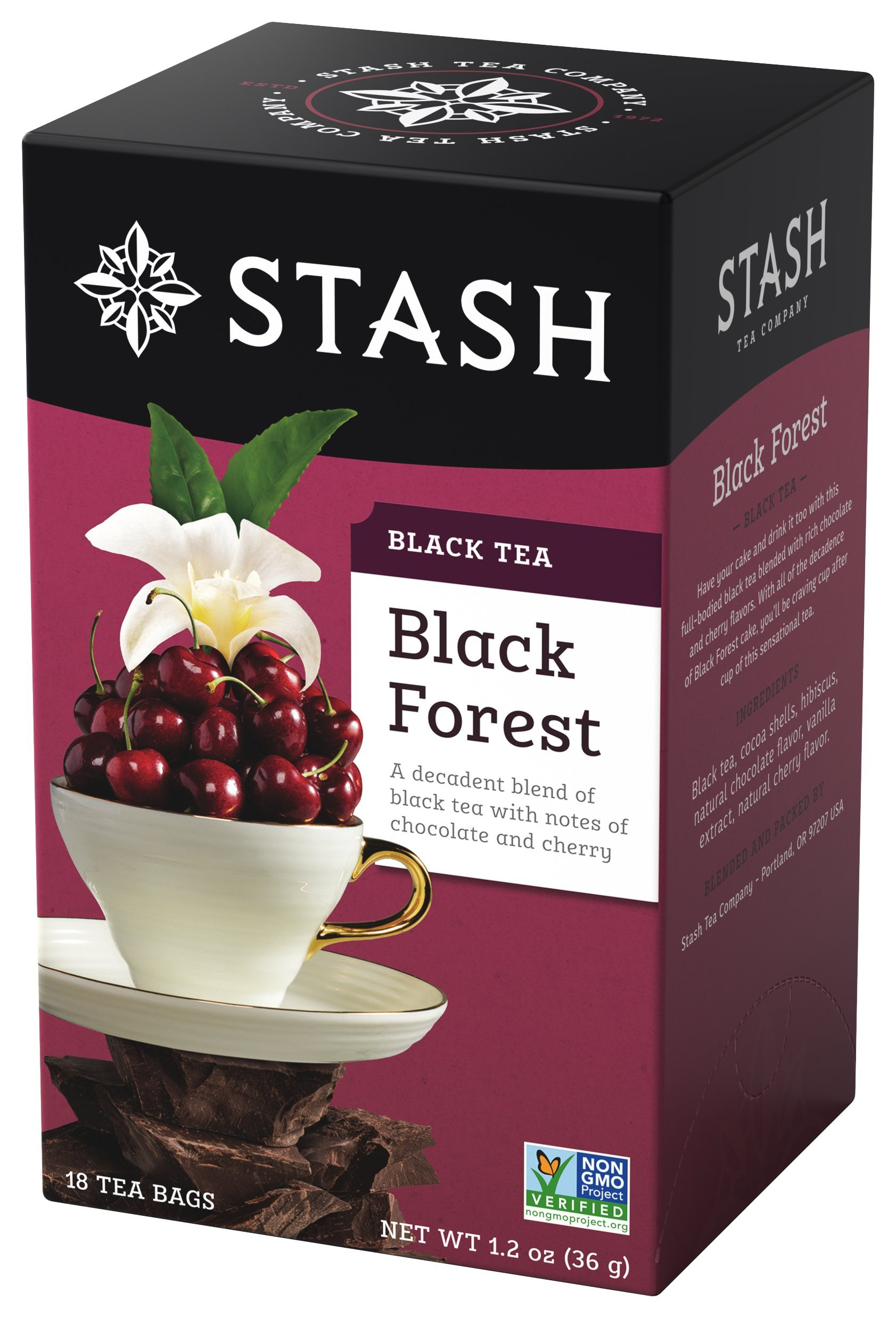 Stash Tea Black Forest Black Tea 18 Count Tea Bags in Foil (Pack of 6) Individual Black Tea Bags for Use in Teapots Mugs or Cups, Brew Hot Tea or Iced Tea, Fair Trade Certified