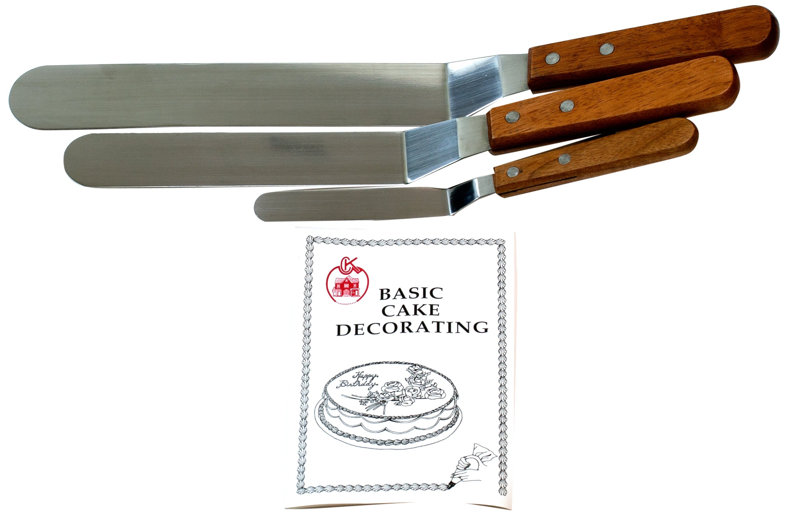 Cybrtrayd Offset Wood-Handled Cake Decorating Spatulas Plus Cake Decorating Instruction Booklet (4.25-Inch, 7.75-Inch and 9.25-Inch), Set of 3 by CybrTrayd
