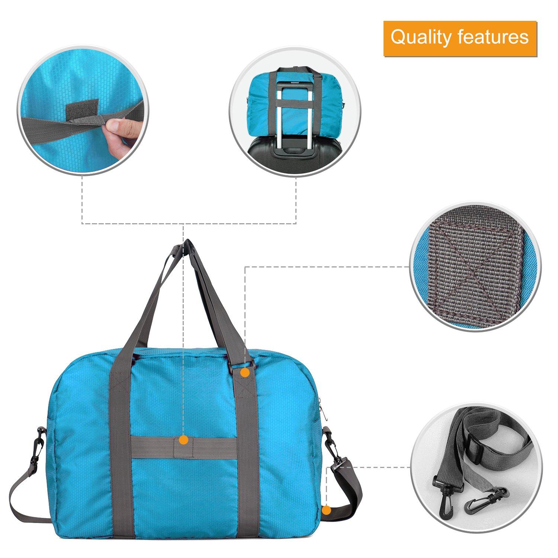 Wandf Foldable Travel Duffel Bag Luggage Sports Gym Water Resistant Nylon, Blue by WANDF (Image #5)