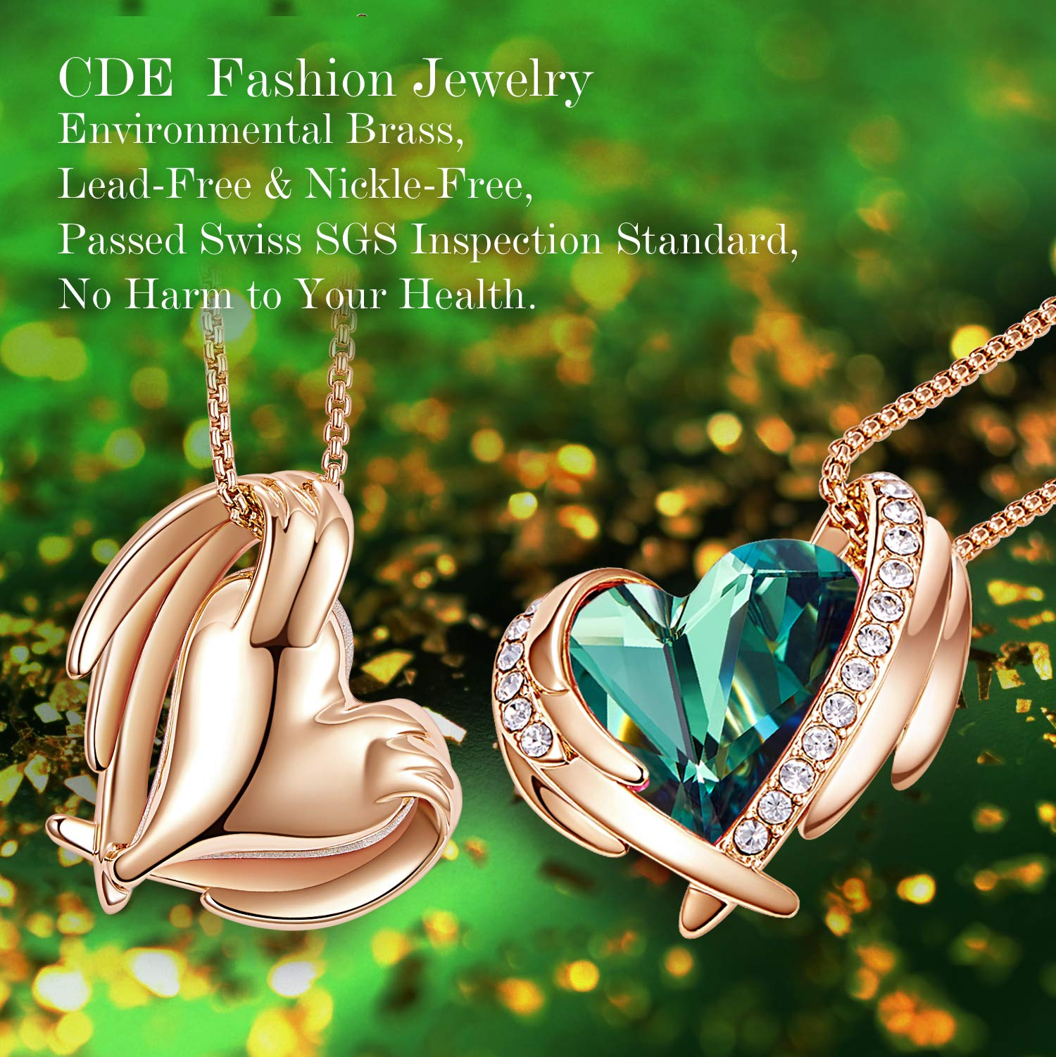 "CDE ""Pink Angel 18K Rose Gold Jewelry Set Women Heart Pendant Necklaces and Stud Earrings Sets Embellished with Crystals from Swarovski for Her Gift"