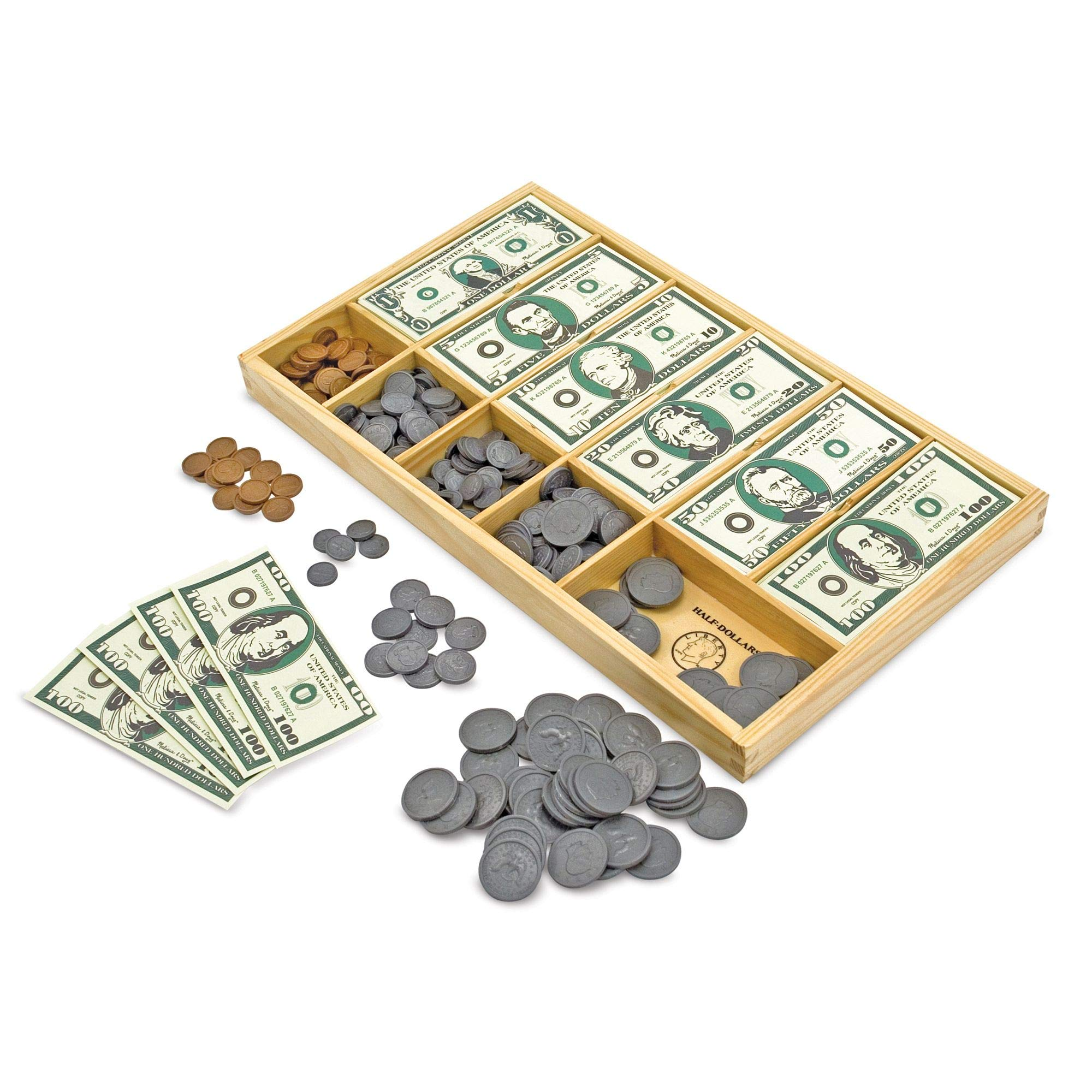 Melissa & Doug Classic Play Money Set (Developmental Toys, 50 of Each Denomination, Wooden Cash Drawer, Great Gift for Girls and Boys - Best for 3, 4, 5, 6, and 7 Year Olds) by Melissa & Doug