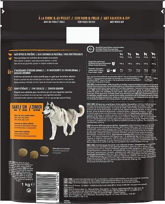 Crave Pienso para Perros Adultos Sabor Pavo y Pollo (Pack de 5 x 1kg)