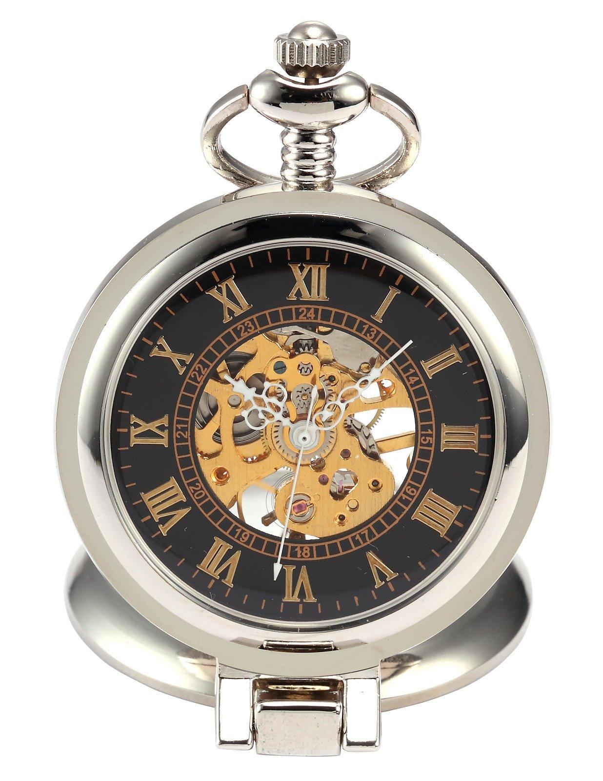 AMPM24 Unique Men Women Magnifier Skeleton Mechanical Hand Wind Pocket Watch with Chain WPK023