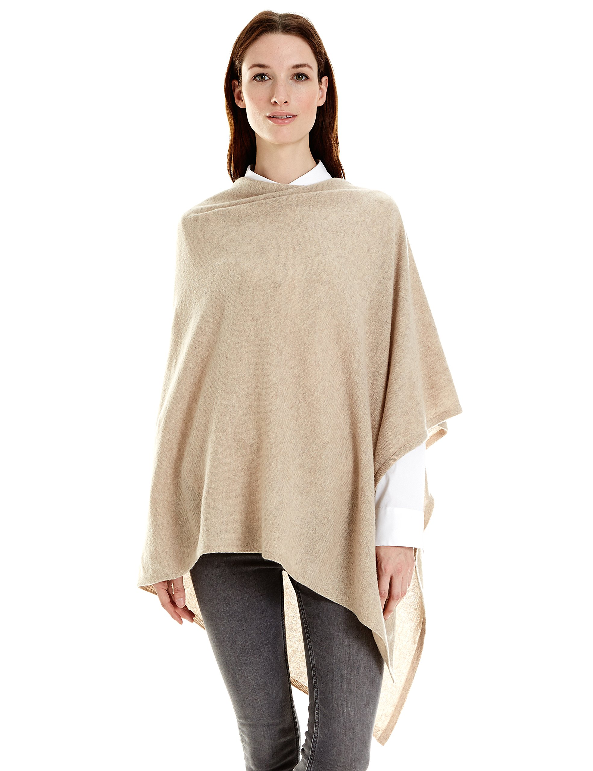 New York Cashmere 100% Pure Cashmere Draped Poncho (Oatmeal)