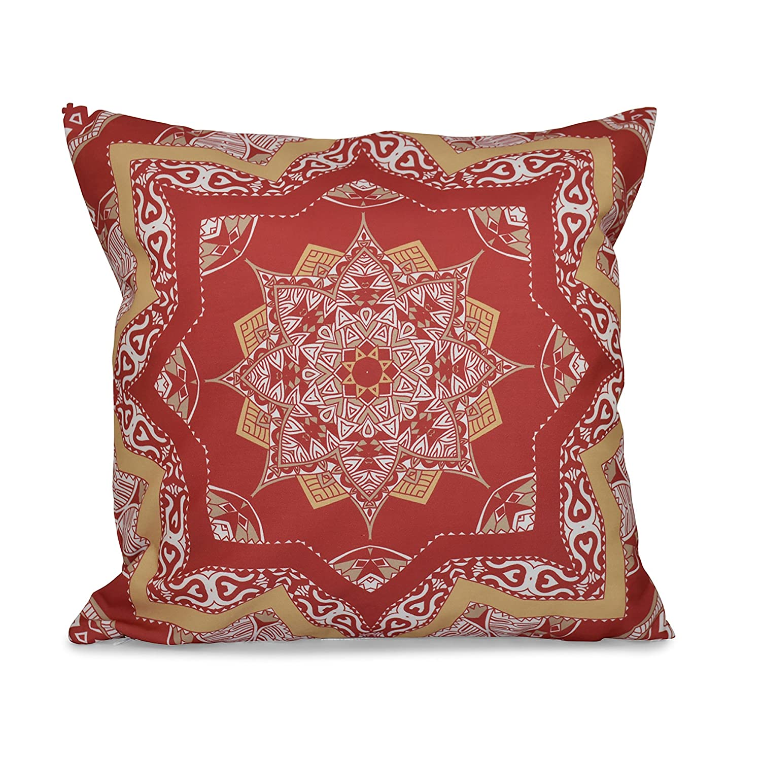 Geometric Print Pillow E by design PGN552OR15YE3-20 20 x 20-inch Coral 20x20 Orange Shawl