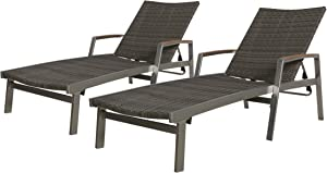 Christopher Knight Home 305555 Joy Outdoor Wicker and Aluminum Chaise Lounges (Set of 2), Gray Finish