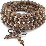 TEMEGO Jewelry Men Women Wood Bracelet, Vintage Tibetan Beads Buddhist Prayer Mala Necklace Chain, Light Brown