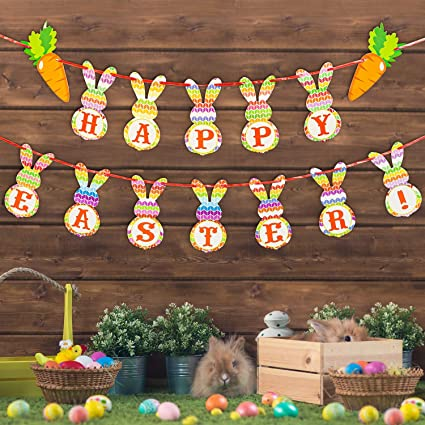 Amazon Com Gibot Happy Easter Banners Colorful Bunny Pattern Bunting Garland Easter Decorations Home Party Decor Favors Toys Games