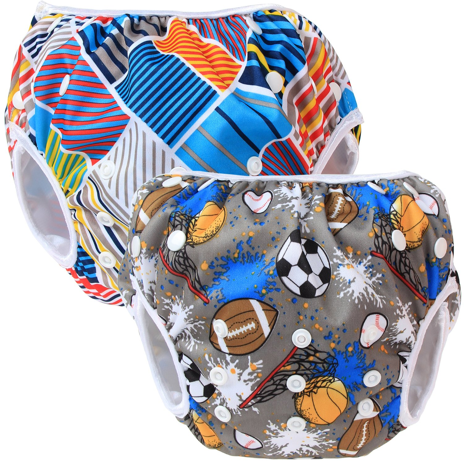 Teamoy Reusable Swim Nappy(2 Packs) for Baby Boys& Girls, Comfortable, Washable and Adjustable, Ideal for Swimming Lessons/Holiday, Cats+ Colorful Chevron