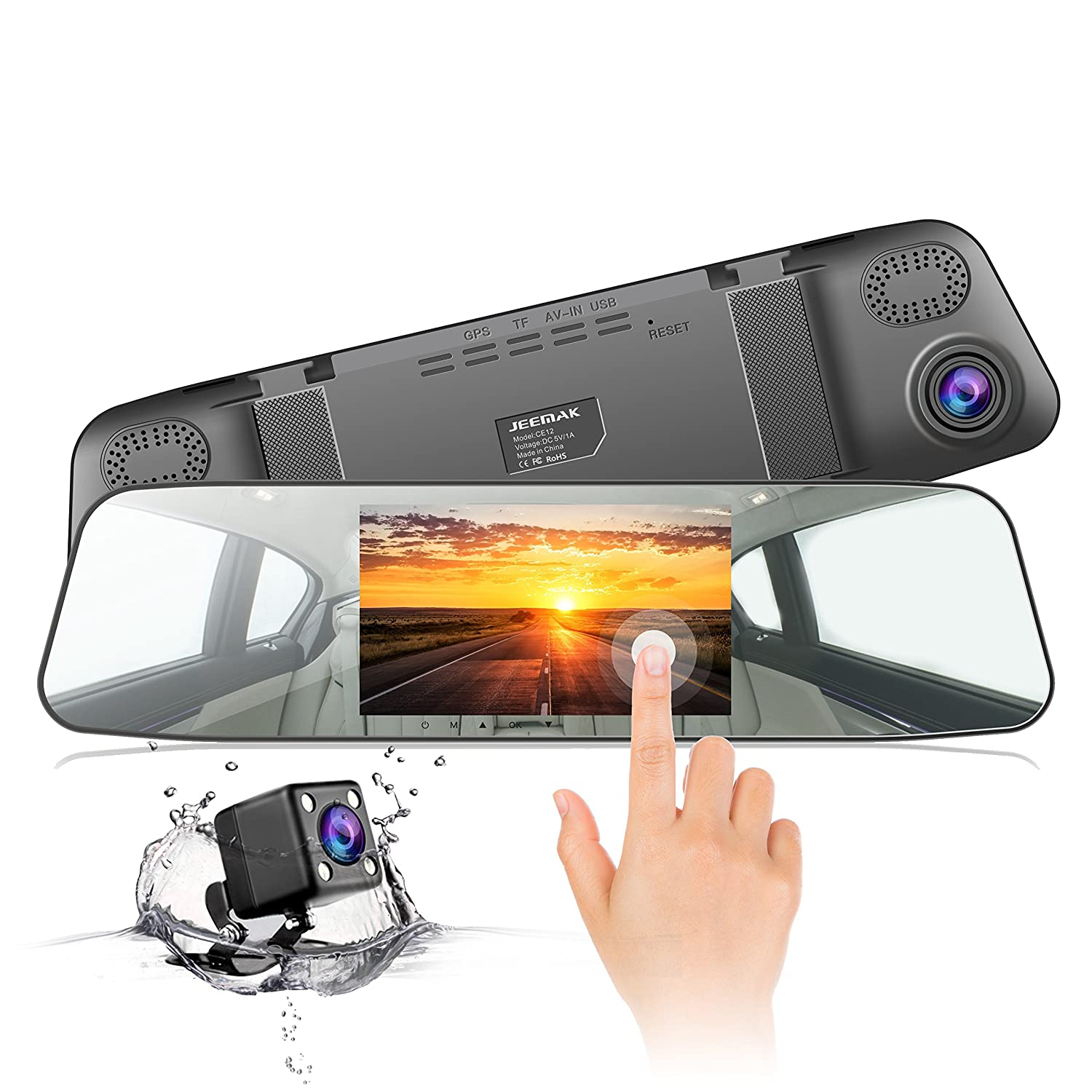Dash Cam JEEMAK Mirror Car Camera 1080P 4.3 Inch Touch Screen Dual lens Car Camera with 170° Wide Angle Rearview Backup Camera Dual Lens with Parking Monitor G-Sensor Loop Recording CE12