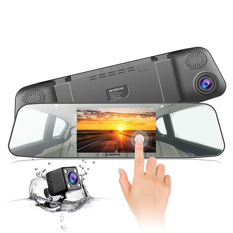 """Cámara de Coche,JEEMAK 1080P Pantalla Táctil Dash Cam LCD de 4.3"""" con 170° Gran Ángulo Espejo Retrovisor Cam con cámara delantera y trasera , G-Sensor, Grabación en Bucle y Detección de Movimiento CE12"""
