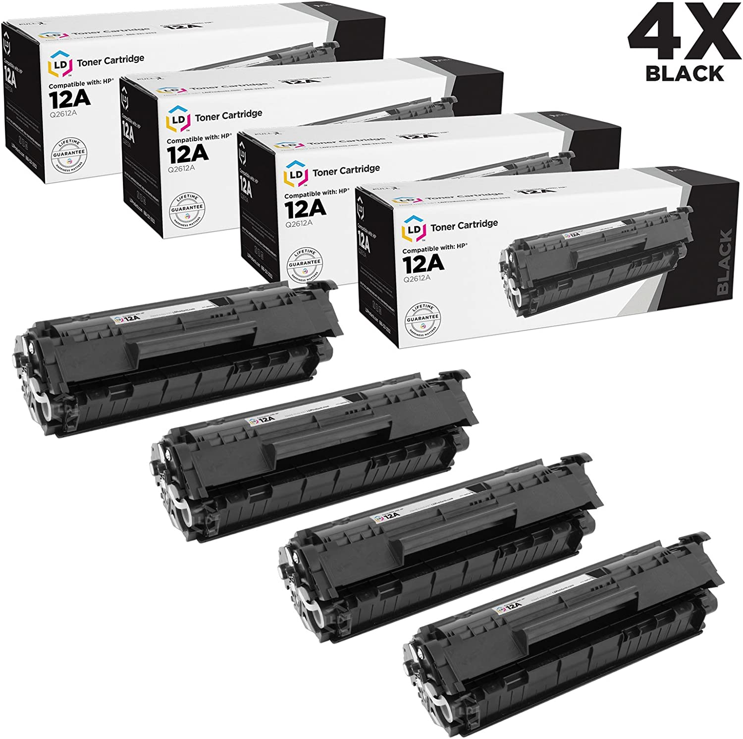 LD Compatible Toner Cartridge Replacement for HP 12A Q2612A (Black, 4-Pack)