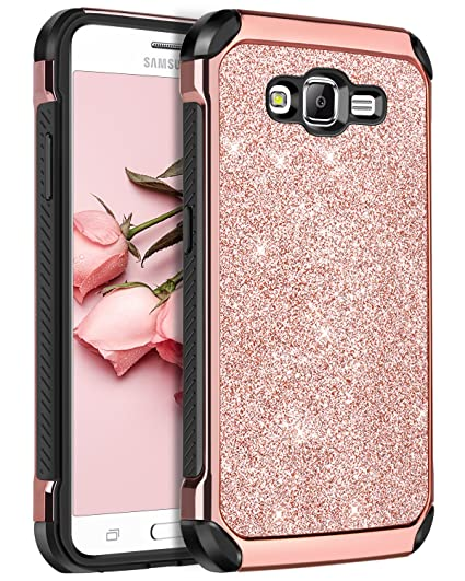 Galaxy On5 Case,Samsung Galaxy On5 Case,BENTOBEN 2 in 1 Leather Glitter  Bling Hybrid Slim Hard Cover Sparkly Shiny Chrome Shockproof Fully  Protective