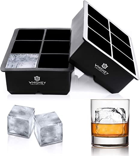 Amazon Com Whiskey Collectives Ice Cube Trays Large Silicone Ice Maker Molds Perfectly Cubed Bartender Ice For Cocktails And Bourbon Flexible Bpa Free Set Of 2 Kitchen Dining