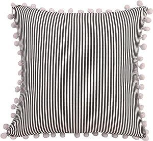 "CARLOTA Farmhouse Decorative Throw Pillow Covers with Balls Cotton Linen Ticking Striped Cushion Accent Pillowcase Boho Modern Decor Pillow Case (18""x18"", Black)"